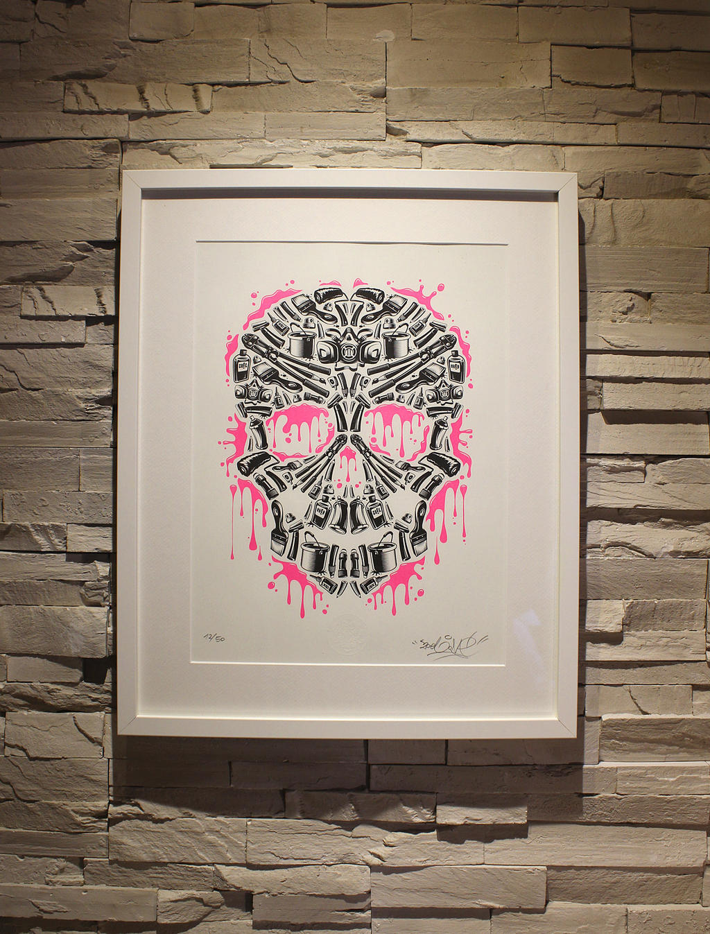 ZoelOne limited Riso print - Sweet Streets Skull by ZoelOner