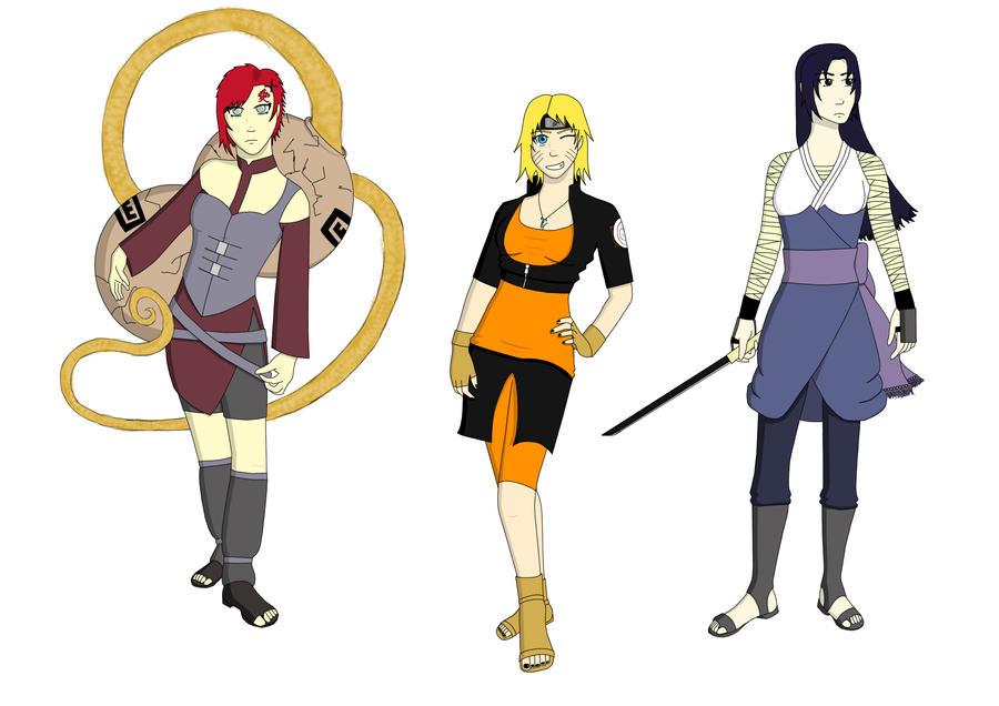 Gaara, Naruto, Sasuke - Gender Bender Contest by bex1302