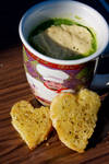 Broccoli Soup with roasted corn bread and cheese