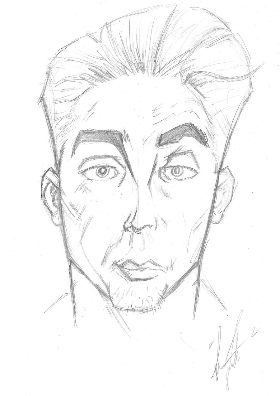 Line Drawing Male Face : Male face pencil study by rox on deviantart