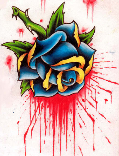A red rose bud tattoo also shows purity and loveliness. Blue roses symbolize