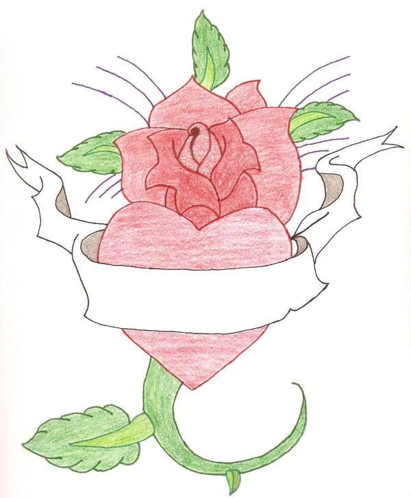 Heart With Rose And Banner: Heart, Rose, Banner By Ravenkiokoshietu On DeviantArt