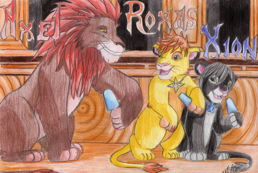 Xion And Roxas And Axel Axel Roxas And Xion Lions by