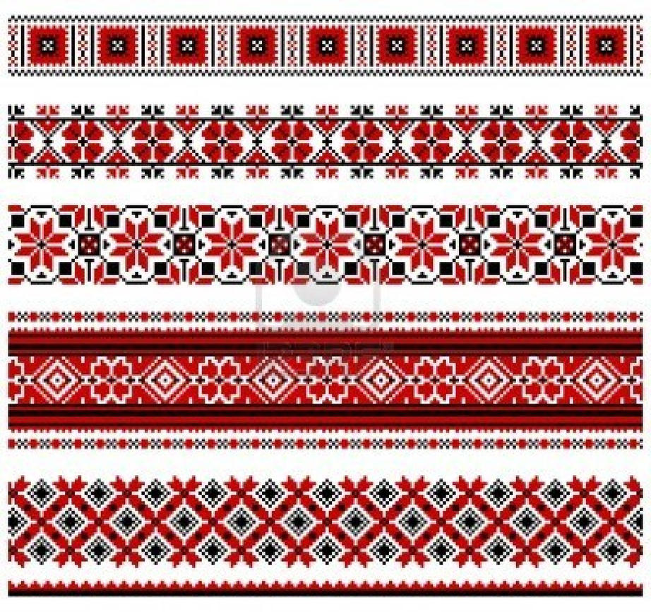 Illustrations of ukrainian embroidery patterns by