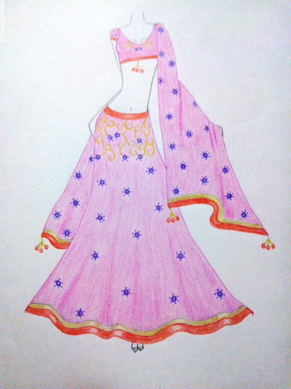 Indian dress sketch by moumita28 on DeviantArt