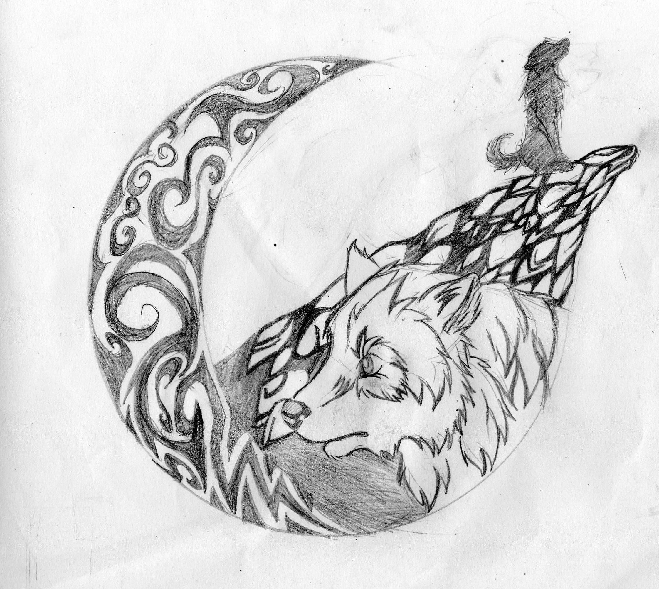 Wolf howling at the moon drawing in pencil
