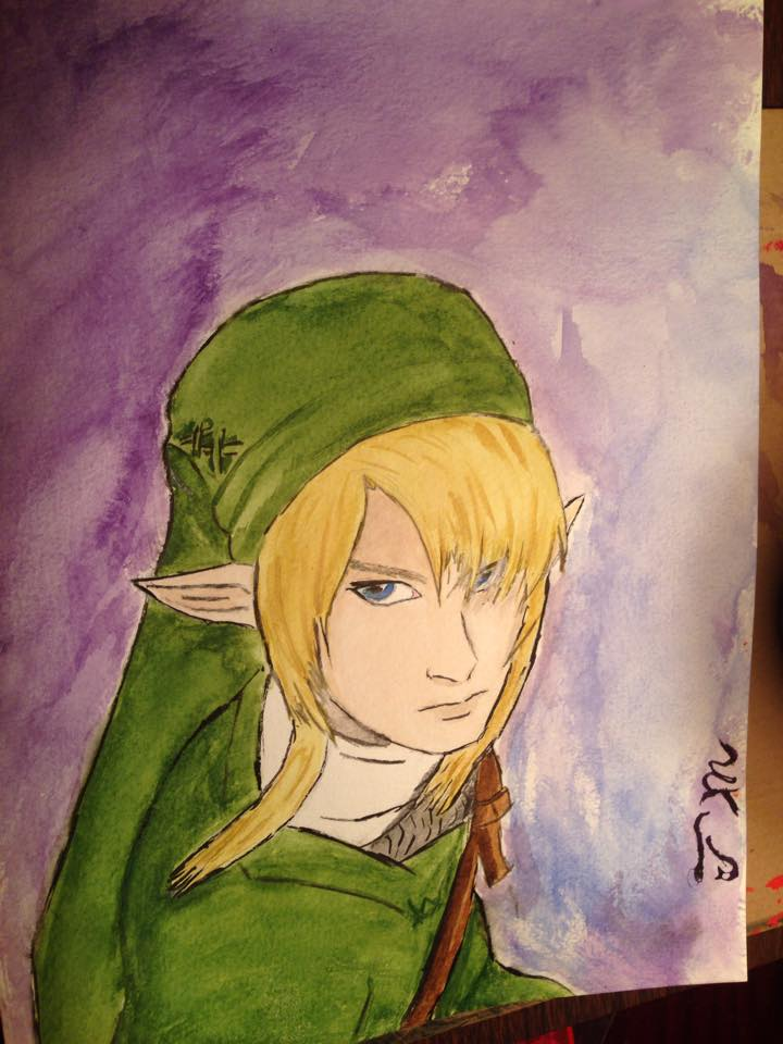 Link (water paint) by Mischievous-Princess