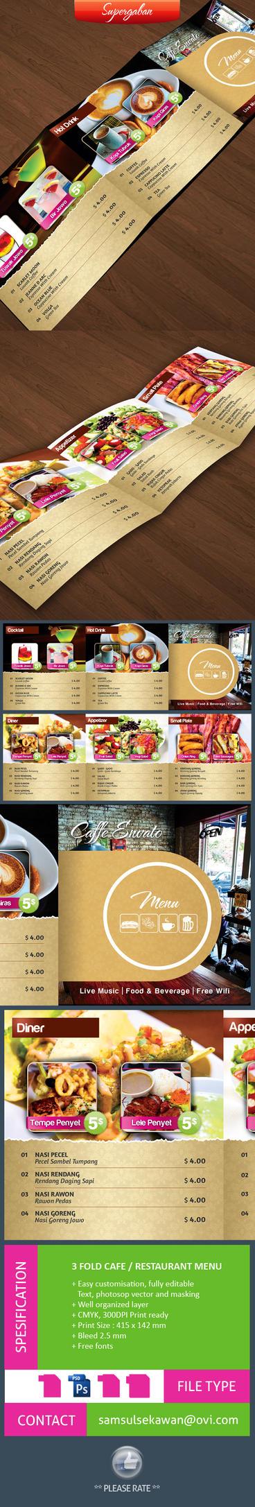 3 Fold Square Cafe Restaurant Menu by samsulsekawan