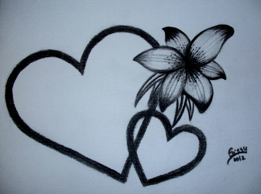 Hearts with flower by Sissyke on DeviantArt