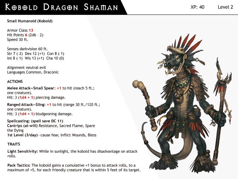DnD-Next-Monster Cards-Kobold Dragon Shaman by dizman on