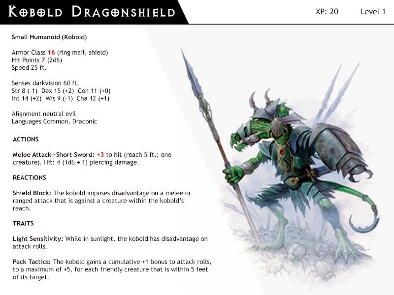 DnD-Next-Monster Cards-Kobold Dragonshield by dizman on