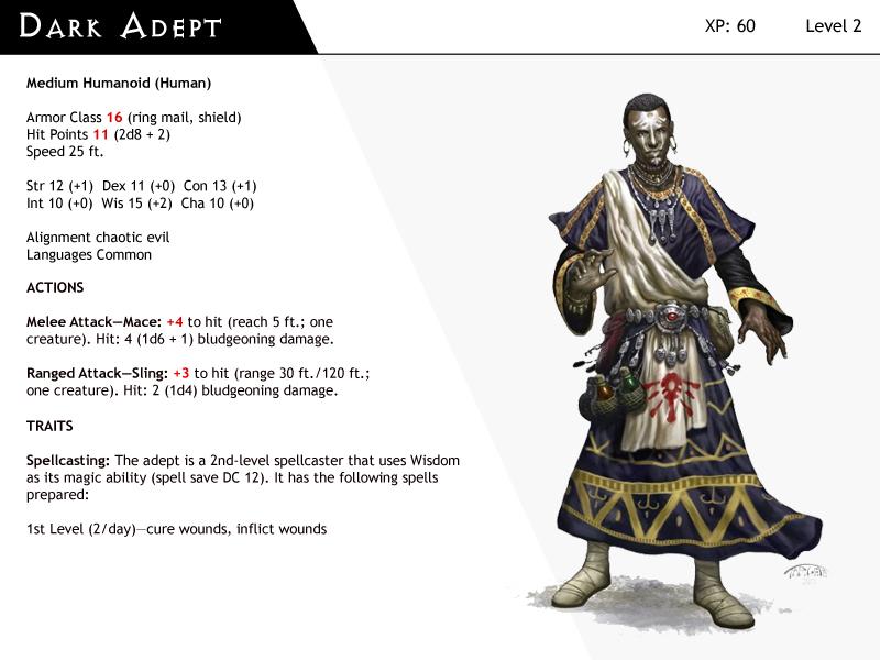 DnD-Next-Monster Cards-Dark Adept by dizman on DeviantArt