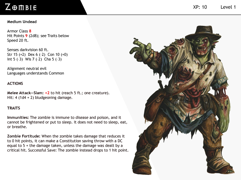 DnD-Next-Monster Cards-Zombie by dizman on DeviantArt