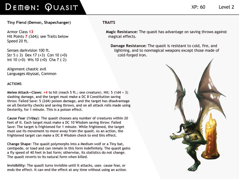 DnD Next Monster Cards Demon Quasit By Dizman On DeviantArt