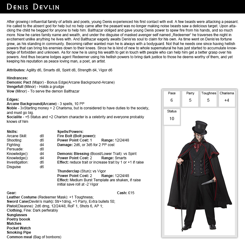 Denis devlin savage worlds rippers character by dizman for Bureau 13 savage worlds