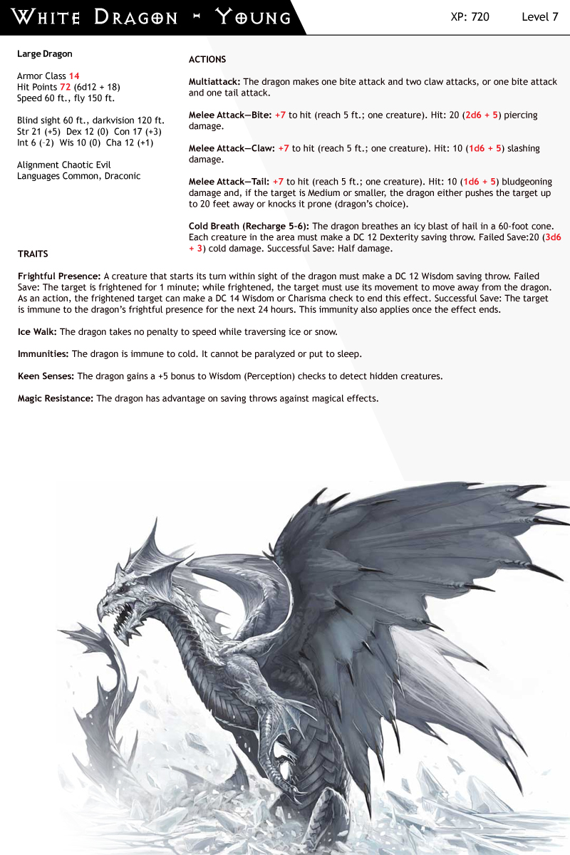 Dnd White Dragon: DnD-Next-Monster Cards-Dragon