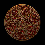 Celtic Knotwork Crimson and Gold Spirals by Robohippyv2