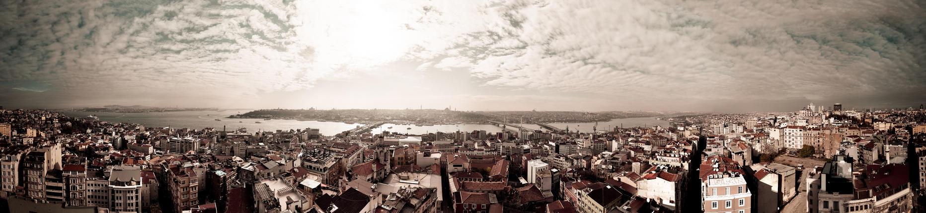 Panorama from Galata Tower, Istambul, Turkey. by w3rw01f