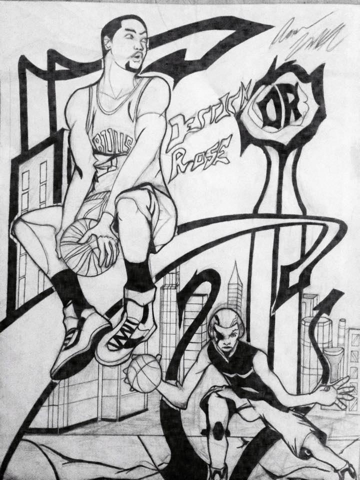 Derrick Rose Illustration by aaron8385