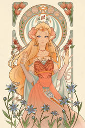 Art nouveau Zelda by flopicas