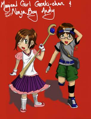 Magical Girl and Ninja Boy by ShimaGenki