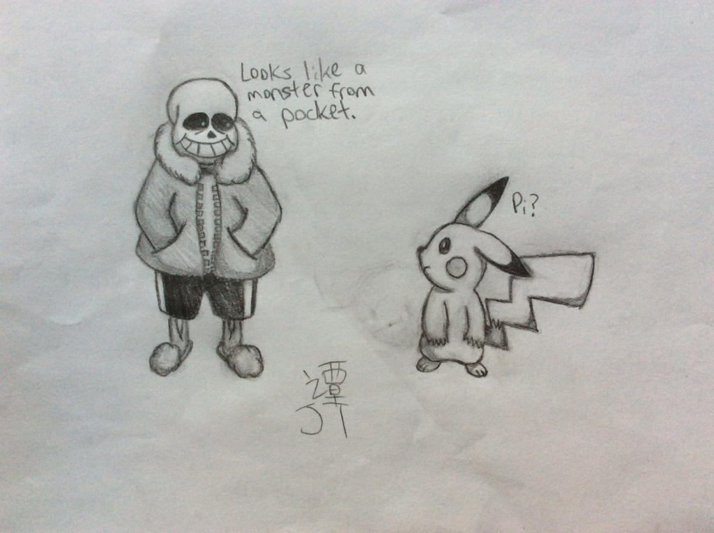 Sans and Pikachu by PikachuJenn