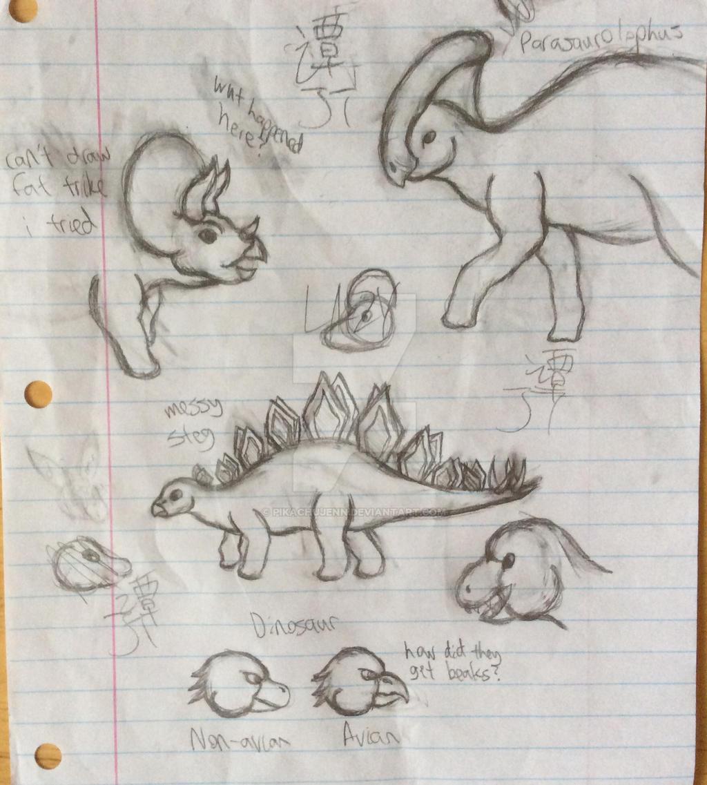 Dinosaur Doodles by PikachuJenn