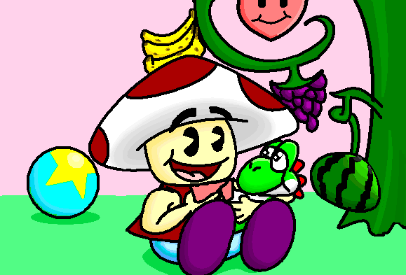 toad and a baby yoshi by warcheeso on deviantart