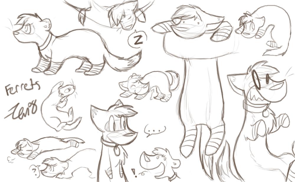 Ferret Doodles by Zenity