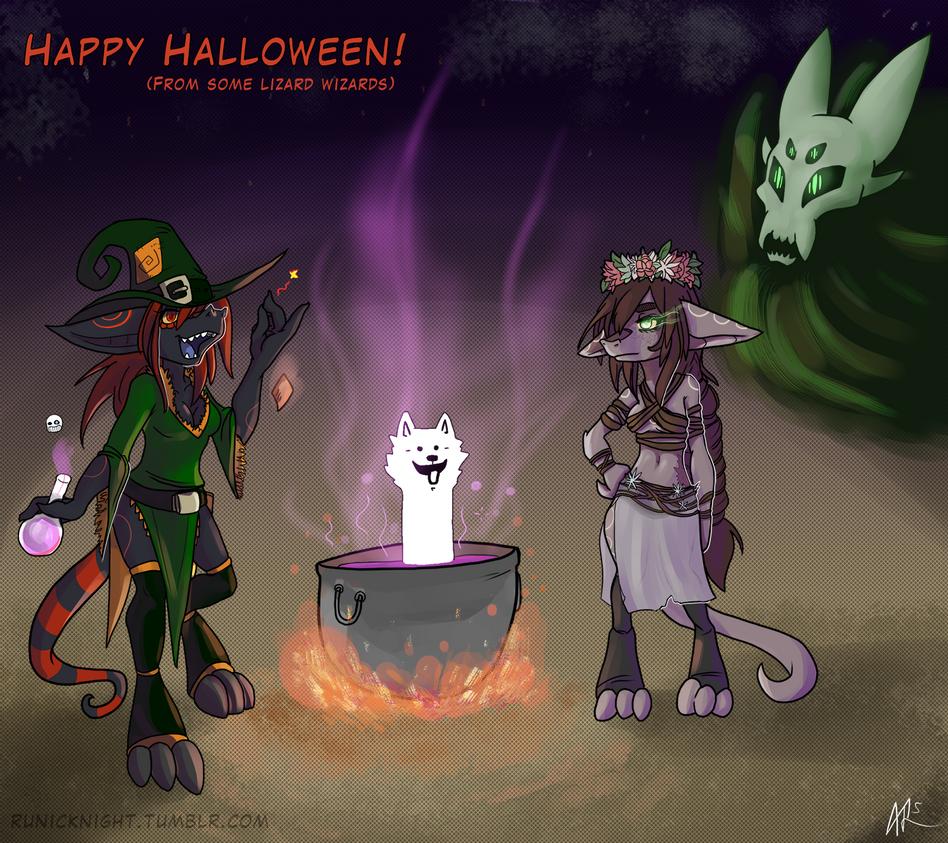 Lizard Wizard Halloween! by RunicKnight