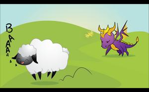 Spyro and Sheep by rhinestoner