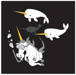 Unicorn with Narwhal Pod by rhinestoner