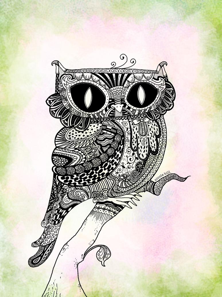 Zentangled Owl by rhinestoner