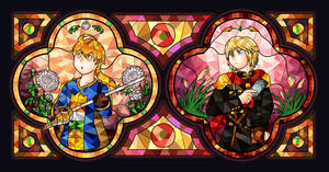 Stained glass heroes -  Ramza and Ace by Azurelly