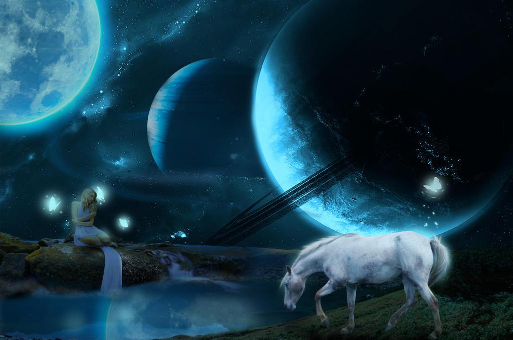 Moonlit Lake by teddimanni