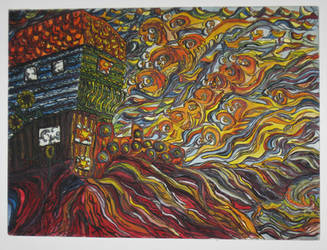 'Sunset in Laguna', acrylic on canvas