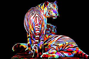 Colored Tigers by megaossa
