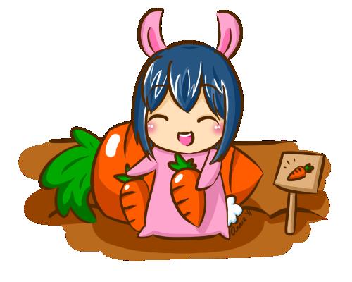 Bunny in Carrot Patch by kyupi