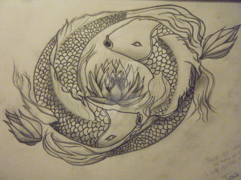 Koi Fish Lotus Flowers By Too Young To Fall On Deviantart