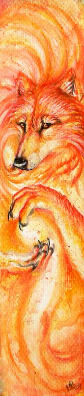 Flame Wolf bookmark by wolf-minori