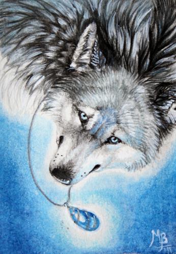 ACEO Labradorite Wolf by wolf-minori
