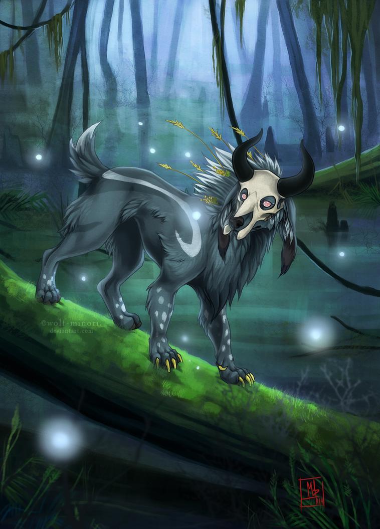 Magic night at swamp by wolf-minori