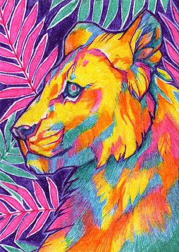 Neon Jungle ACEO by wolf-minori