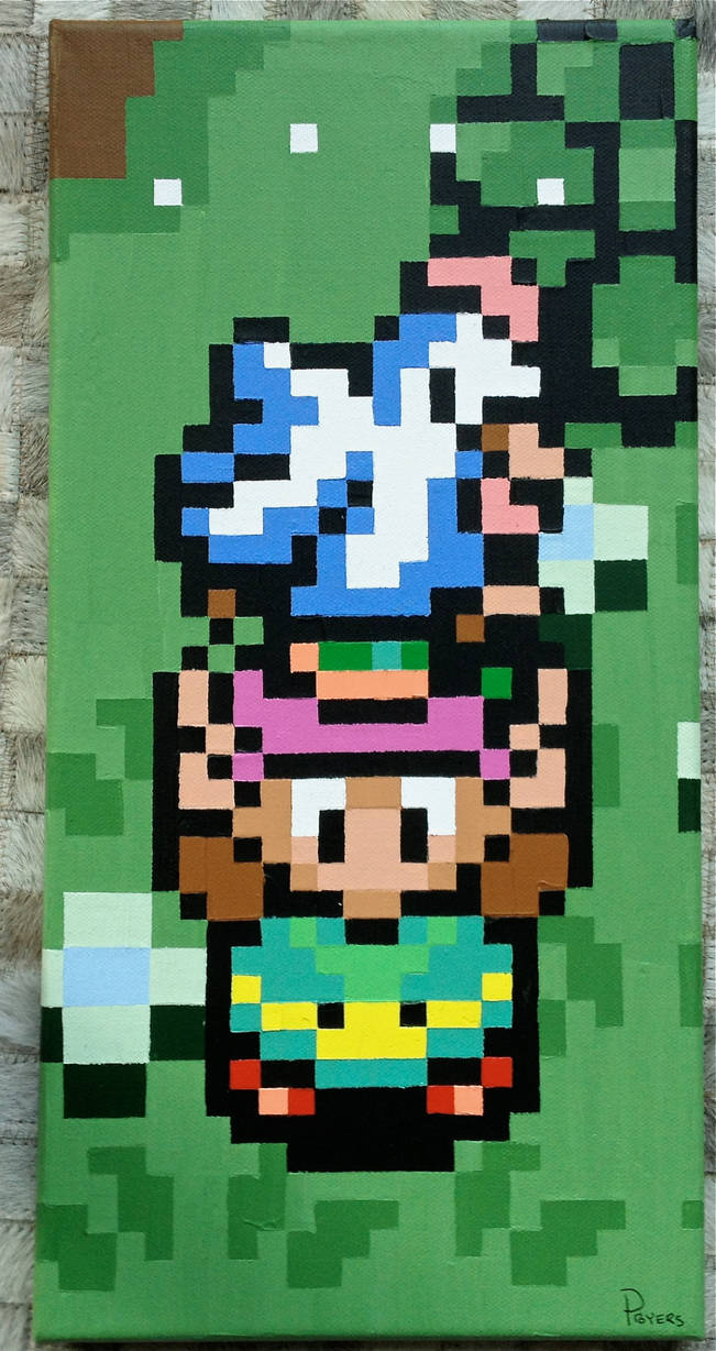 Link Holding a Chicken pixel painting