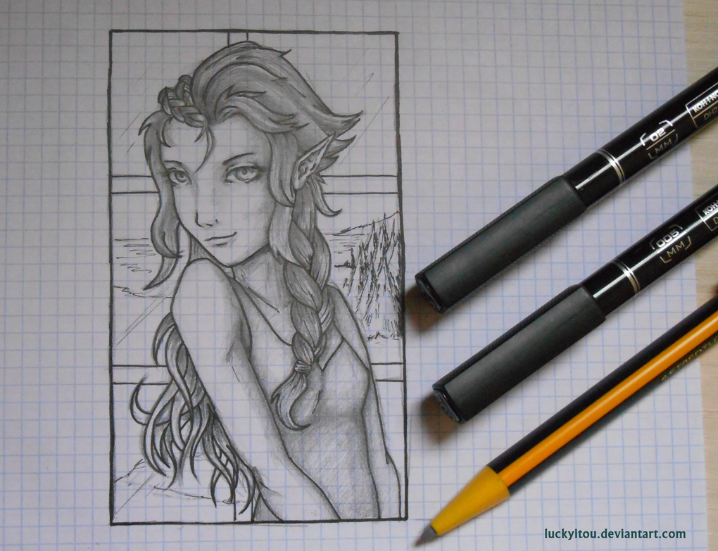 School Sketch - Just an Elf Princess by LuckyItou