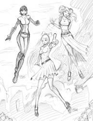 Power Puff Girl's Sketch by Shono