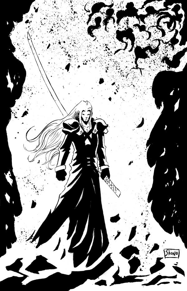 INKTOBER DAY 31: FF VII: Sephiroth at Nibeliheim by Shono