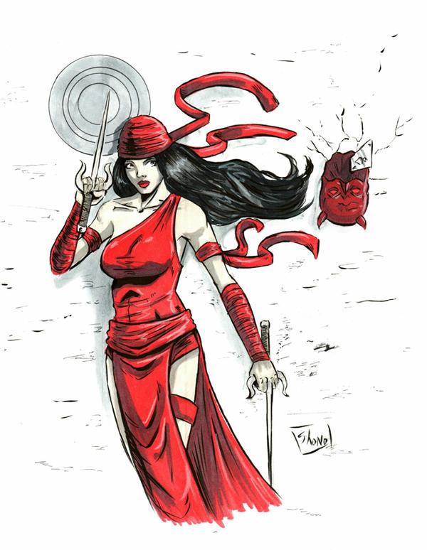HEROES CONVENTION 2016 sketch: Elektra by Shono