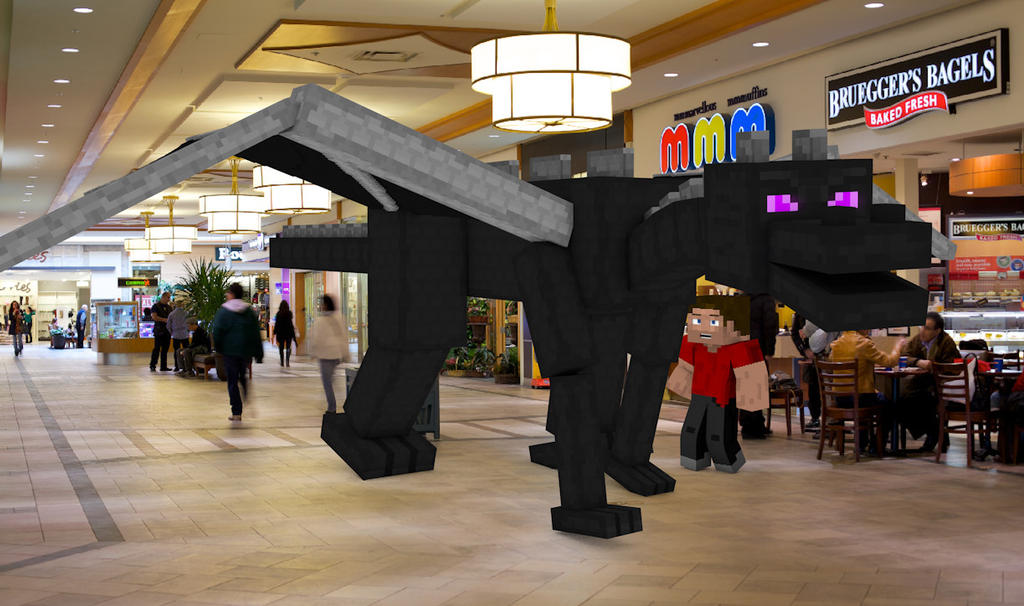 minecraft in real life enderdragon in the mall by
