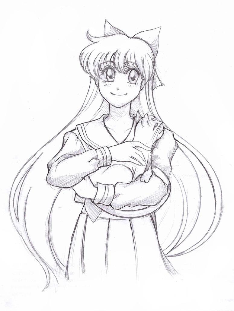 Minako and Artemis by RikaChan3